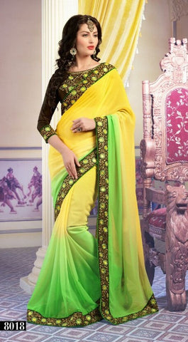 Saree Green  , yellow,Georgette