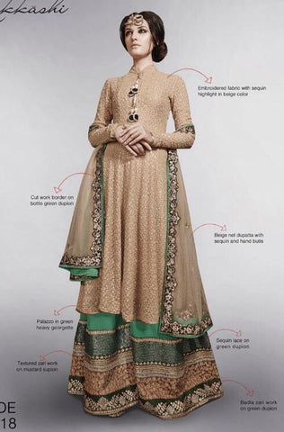 Beige , Green,Net,Designer long anarkali suits with heavy work embroidery