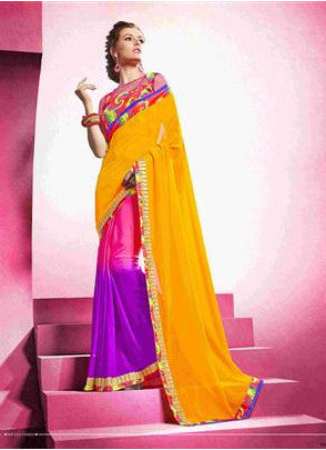 Designer Multicolored shaded saree for daily and office wear