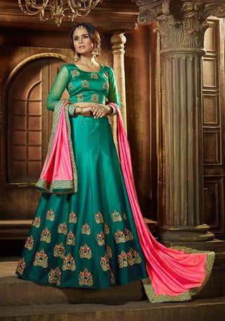 Aqua Green Satin Silk Lehenga And Blouse With Embroidery Along With Pink Dupatta