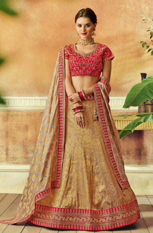 Beige Gold Jacquard Silk Party Wear Lehenga With Grey Dupatta