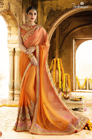Orange Georgette Saree With Orange Blouse