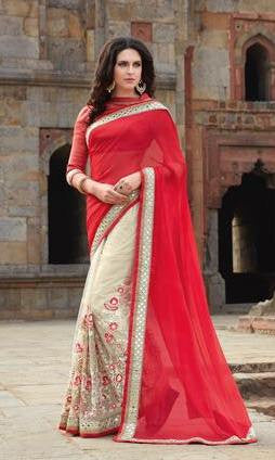 Red , White,Georgette,Heavy designer party wear saree