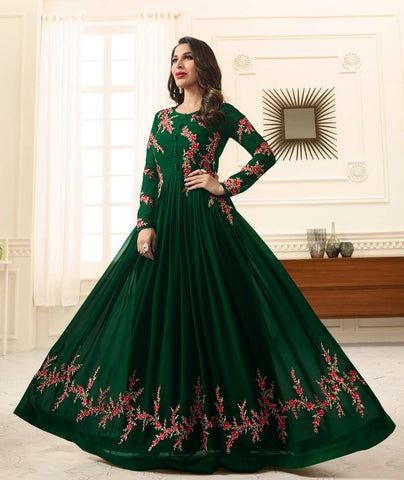 Floral Embroidery  Green  Abaya Style Anarkali Suit With Dupatta