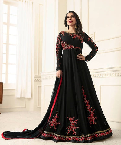 Floral Embroidery  Black  Abaya Style Anarkali Suit With Dupatta