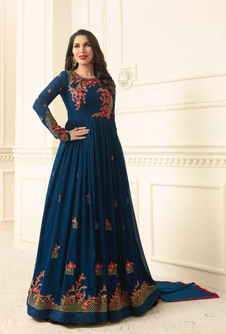 Floral Embroidery  Dark Cyan Blue  Abaya Style Anarkali Suit With Dupatta