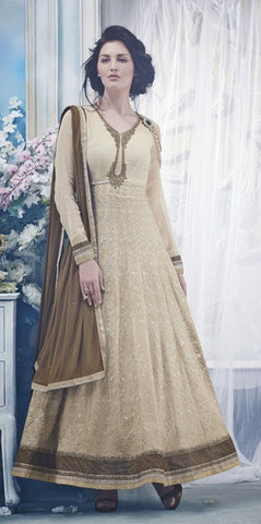 Designer Beige and brown chiffon long full length anarkali suit for women
