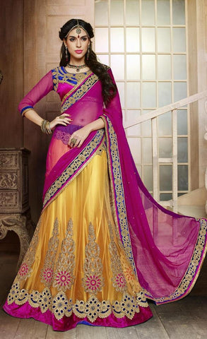 Yellow,Net,Heavy designer lehenga with embroidery work