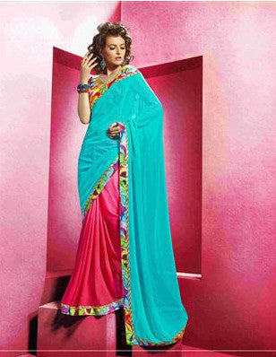 Red and Turquoise shaded gerogette saree for office