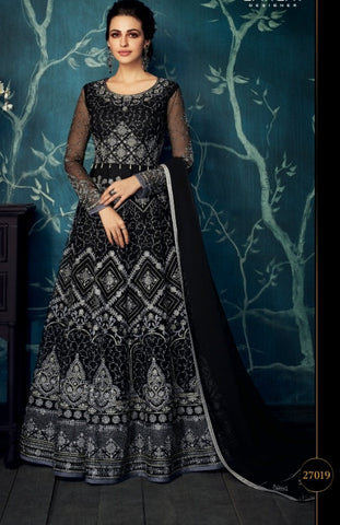 Black Jacquard Party Wear Anarkali Dress With Black Dupatta
