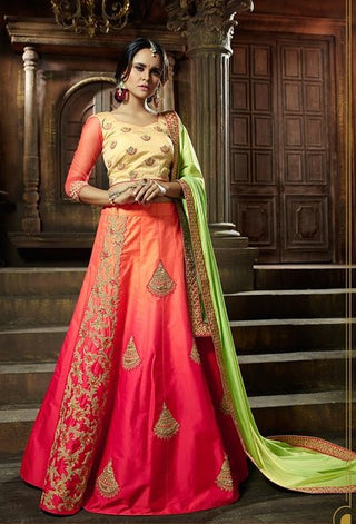 Pink Orange Shaded Silk Lehenga With Heavy Embrodiery Along With Blouse And Dupatta