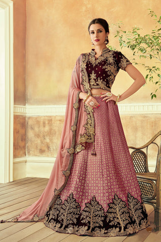 Pink Jacquard Silk Party Wear Lehenga With Pink Dupatta