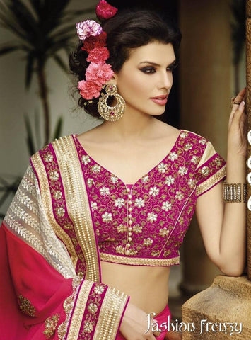 Pink Designer Georgette bridal zari saree with stone work and heavy lace border