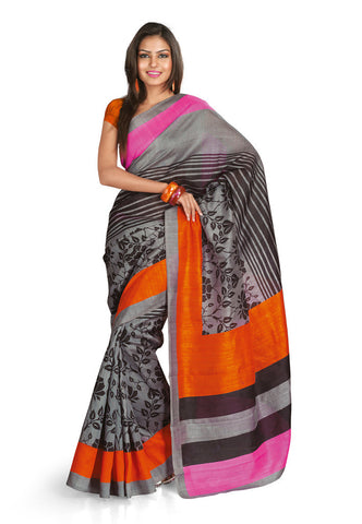 Maroon & White color Bhagalpuri Silk saree