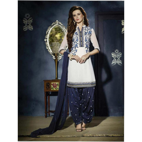 Designer Embroidered Georgette White and blue patiala suits