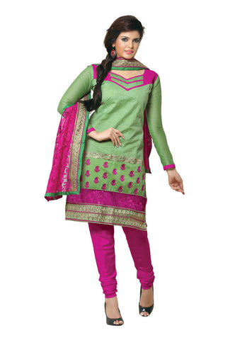 Green Chanderi Silk suits