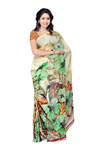 Beige & Green Georgette saree