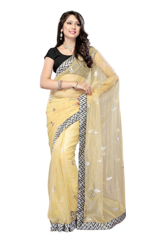 Golden color Net saree