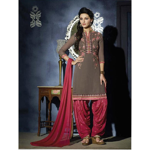 Designer Embroidered Georgette Grey and pink patiala suits