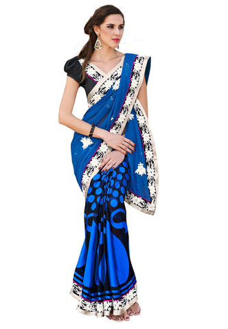 Blue color Chiffon and brasso saree
