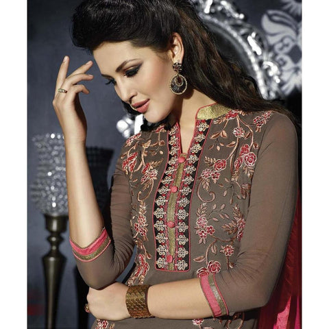 Grey and pink embroidered patiala suits for women