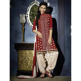 Designer Red and white embroidered patiala suits for women
