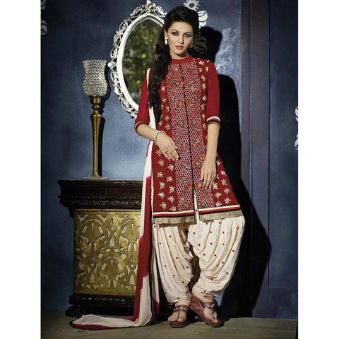 Designer Embroidered Georgette Red and  white patiala suits