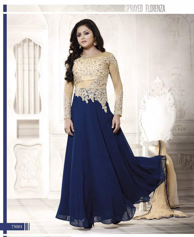 Designer suits of georgette and net in blue color