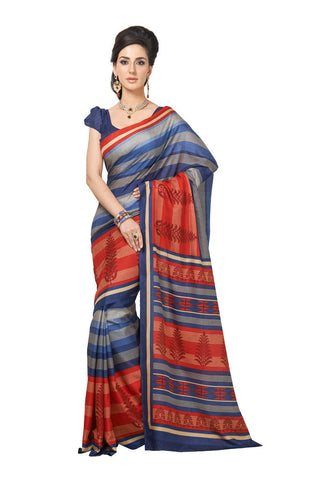 Violet & Red Bhagalpuri Silk saree