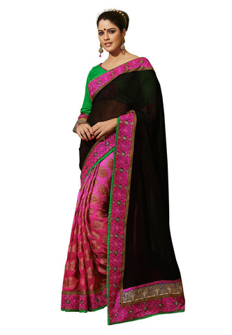Black &  Pink color Georgette and viscose saree