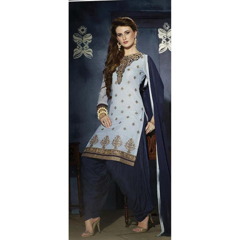 Designer Plain Georgette Blue patiala suits