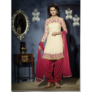 Beige and pink patiala Salwar suit for women