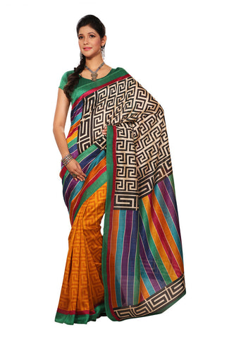 Multi Color color Bhagalpuri Silk saree