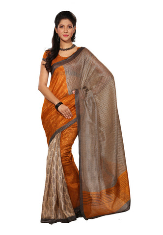 Orange  &  Beige color Super Bhagalpuri Silk saree
