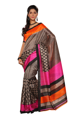 Grey color Bhagalpuri Silk saree