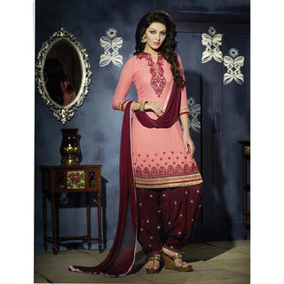 Designer Peach and Maroon Patiala suit for party