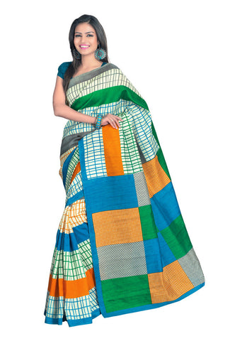 Green & white color Bhagalpuri Silk saree