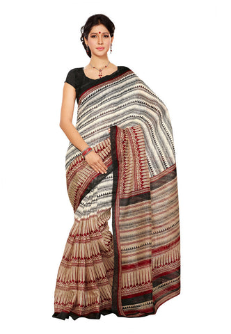 White &  Black &  Maroon color Super Bhagalpuri Silk saree