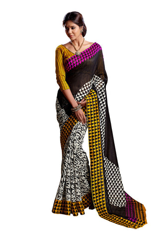 Black &  White Art Silk saree
