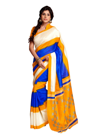 Yellow & Blue Art Silk saree