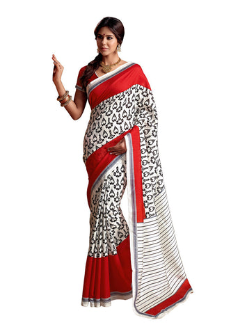 Red & White Art Silk saree