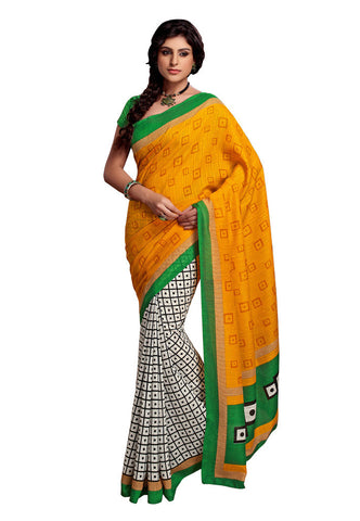 Yellow & White Art Silk saree