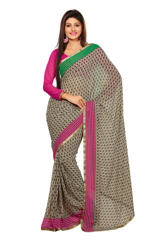 Cream & Black color Pure Georgette saree