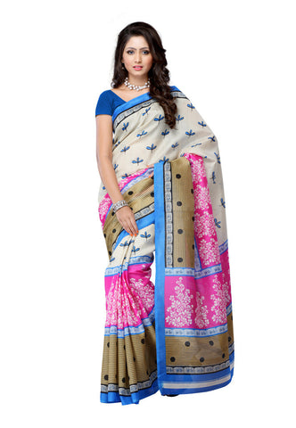 Beige & Pink Art silk saree