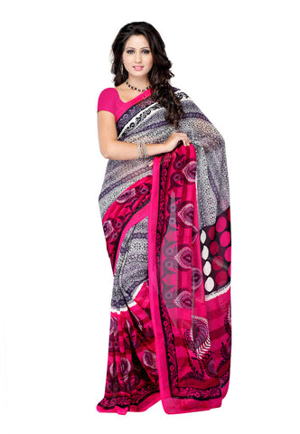 White & Pink Weightless Georgette saree