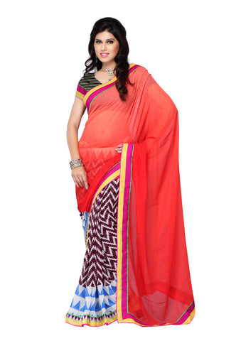 Orange & Purple Georgette saree