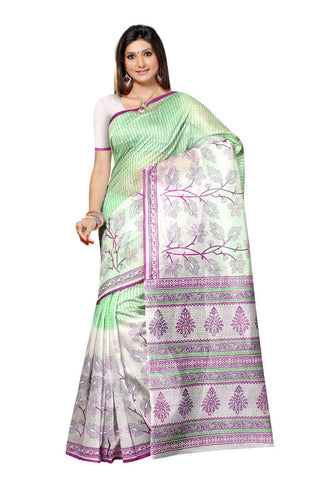 White & Light green Cotton saree