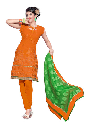 Orange Chanderi Silk suits