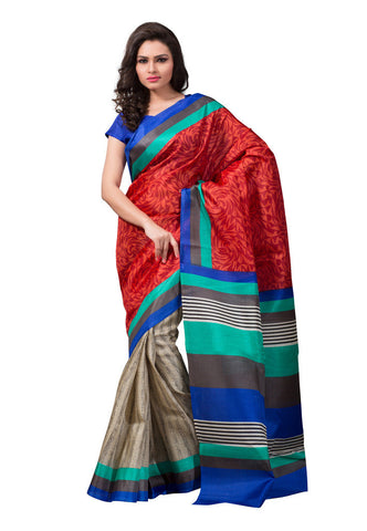 Red & Grey Bhagalpuri silk saree