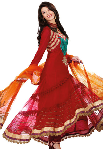 Red Net Salwaar Suits